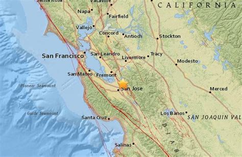 san jose earthquake map usgs earthquake strikes san jose in california daily