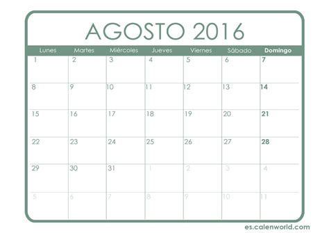 mes de agosto 2016 calendario agosto 2016 calendario para imprimir