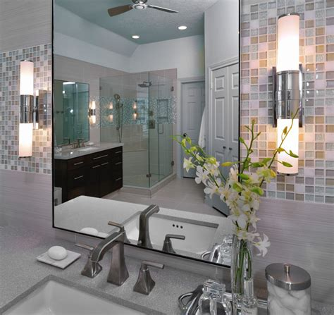 modern bathroom remodel with mosaic tile modern