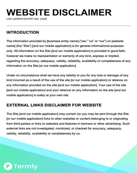 Free Disclaimer Template For Website Free Legal Disclaimer Templates Exles Download Now Termly