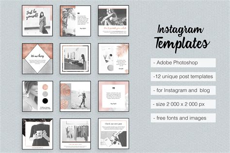 Instagram Templates Feminine Elegant Rose Goid Marble On Behance Picture Templates