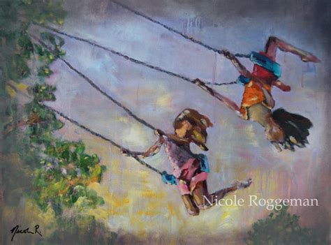 modern swing artists original oil painting swing life away children playing