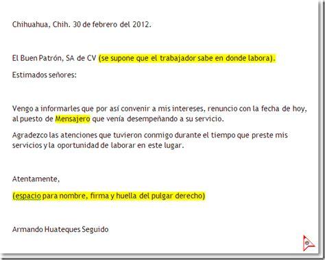 formato de renuncia voluntaria 2015 mxico carta renuncia empleado ejemplo formato machote el