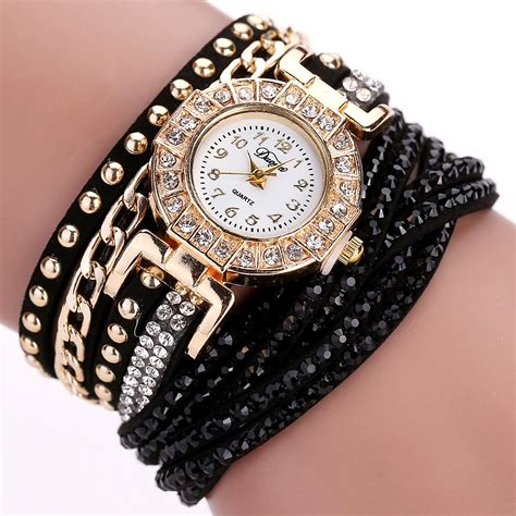 Harga Jam Gelang jam tangan wanita model gelang rhinestone dy001 white