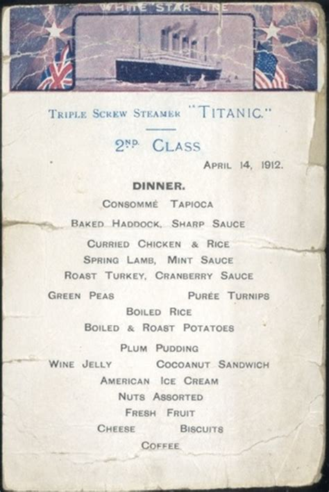 titanic second class menu second class dining the r m s titanic 1912
