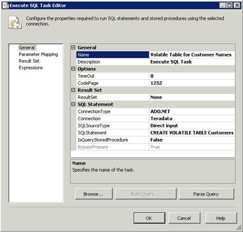 teradata create table as working with teradata volatile tables and ado net