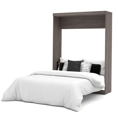 bestar wall bed bestar nebula queen wall bed in bark grey and white