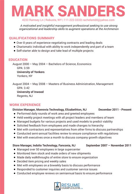 Management Style Resume by Get Better Results With Management Resume Exles 2018