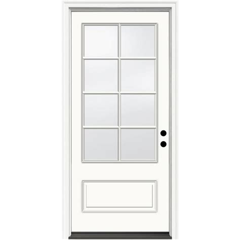 Jeld Wen Exterior Doors Reviews Shop Jeld Wen Decorative Glass Left Inswing Ivory Fiberglass Painted Entry Door