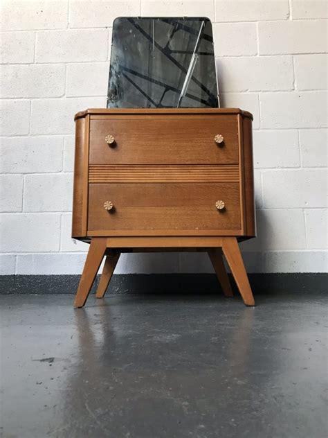 mid century handcrafted oak veneer dressing cabinet by