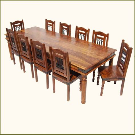 Large Dining Set Rustic 11 Pc Large Solid Wood Dining Table Chairs Set For