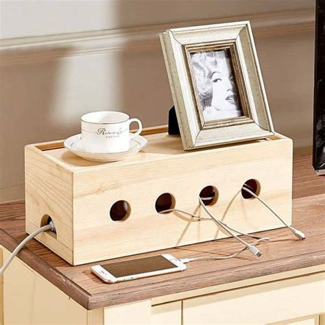 Charging Station Ideas by The Wooden Cable Organizer Box Hides Your Power Strip And