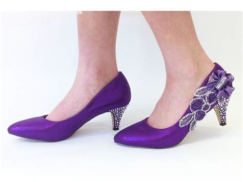 Purple Shoes by Purple Wedding Shoes Bridal Bridesmaids Mid Heel