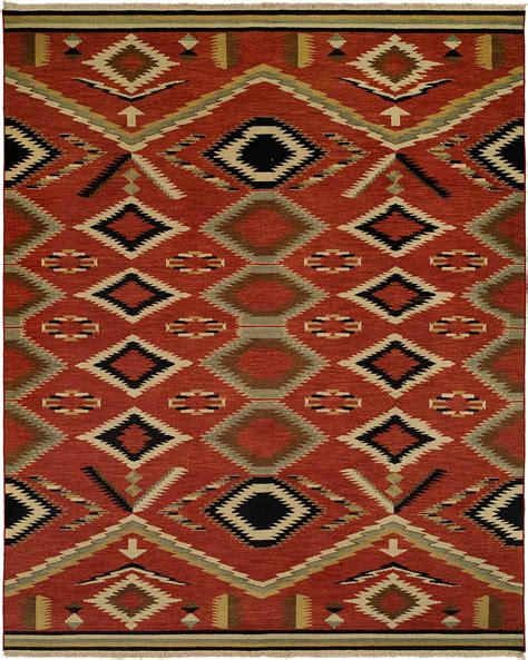 Wool Area Carpets by Navajo Rug Design Red Field With Sage Ivory And Black