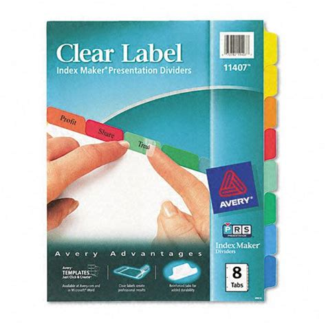 avery templates 8 tab avery clear label index dividers multicolor 8 tab