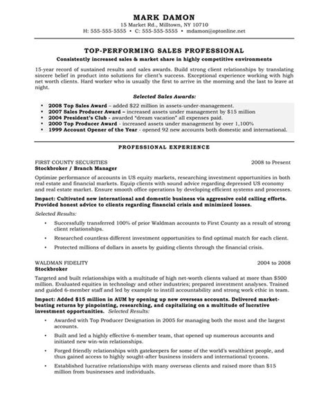 Sle Of Professional Resume With Experience by Exle Resume Template For Sales Professional With Professional Experience