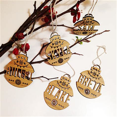 personalised christmas decorations wooden ornaments