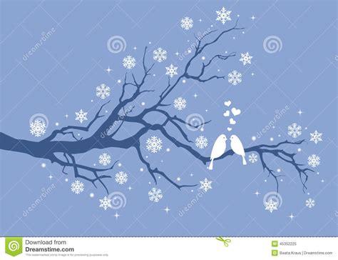winter tree snowflakes stock vector birds on winter tree vector stock vector image 45352225
