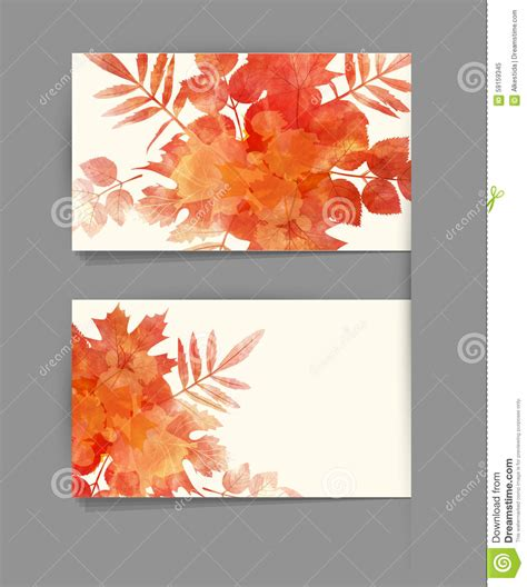fall card template vector template business card with autumn leaves stock