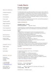 Events Manager Cv Sample Proactively Selling The Venue To