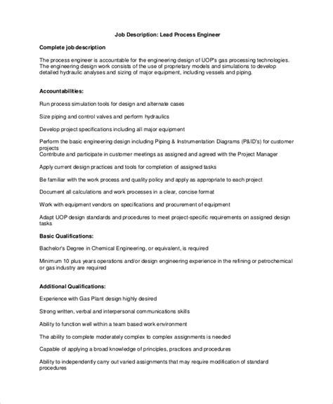 process engineer description sle process engineer description 10 exles in pdf