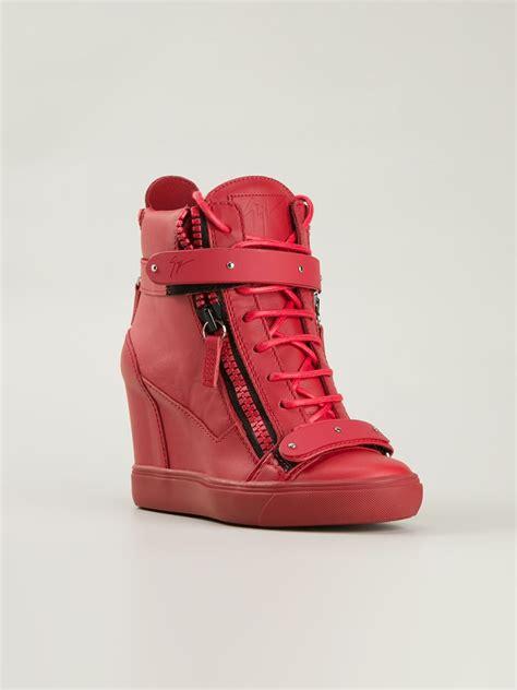 hi top wedge sneakers giuseppe zanotti wedge hi top sneakers in lyst