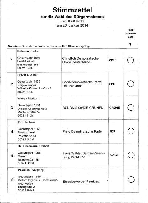 Word Vorlage Wahlzettel Stimmzettel F 252 R Die Wahl Des B 252 Rgermeisters Br 252 Hl 14 Wahlkreis 13