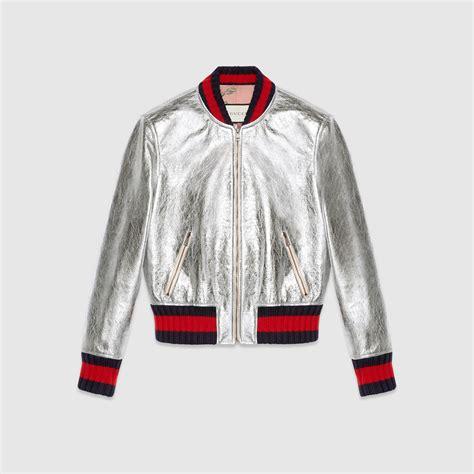 Jaket Vans Model Saku Motif crackle leather bomber jacket gucci s outerwear