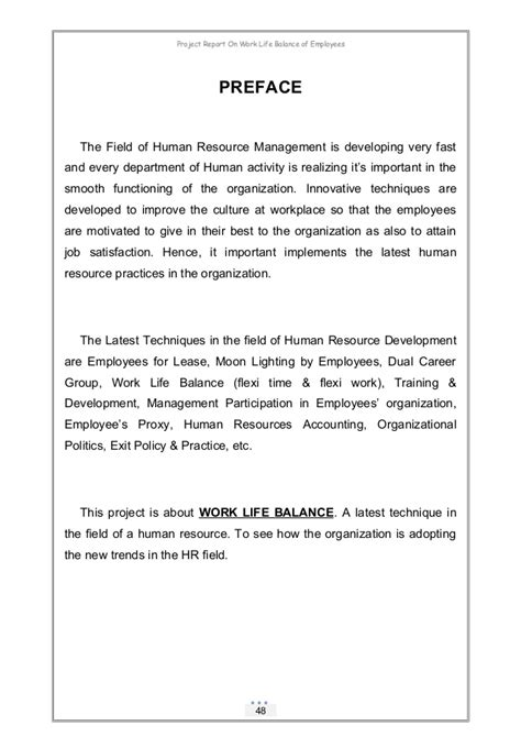 Work Balance Project Report For Mba by Project Report On Work Balance