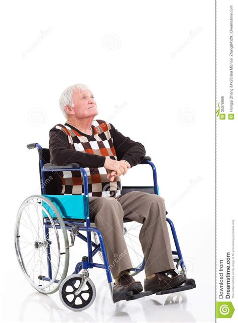 Water Chair Aged Care by Thoughtful Senior Wheelchair Royalty Free Stock Image
