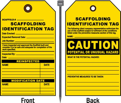 printable scaffold tags caution scaffolding id tag by safetysign com e1517