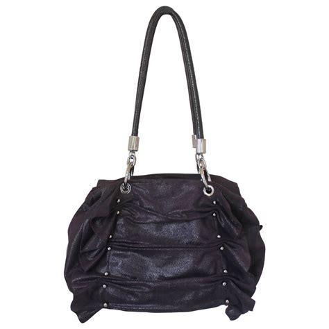 Goldenbleu Ruched Shoulder Bag by Stella Mccartney Purple Cracked Suede Ruched Shoulder