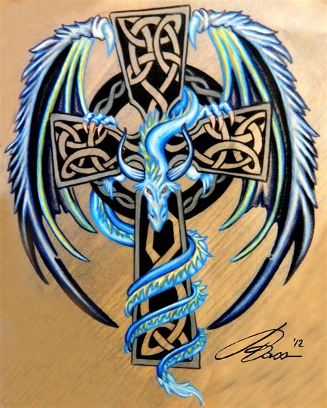 celtic cross with blue and silver dragon dragon tattoo