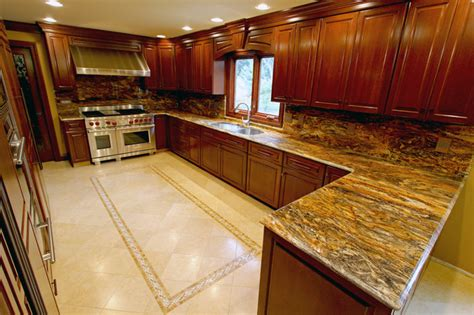 traditional kitchen with cherry cabinets granite