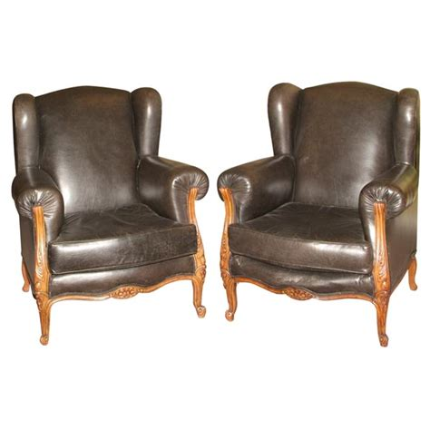 Pair Of Leather And Walnut Armchairs For Sale Antiques