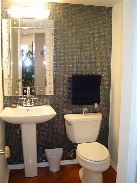 powder room tile ideas sparkling powder room design with cool mosaic wall tiles
