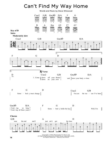 can t find my way home by eric clapton guitar lead sheet