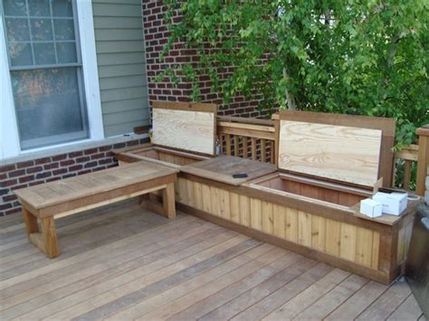 deck bench with storage building a wooden deck over a concrete one 5 bench