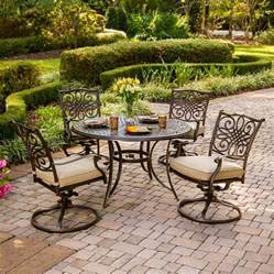 Outside Patio Dining Sets Shop Hanover Outdoor Furniture Traditions 5 Bronze Aluminum Patio Dining Set At Lowes