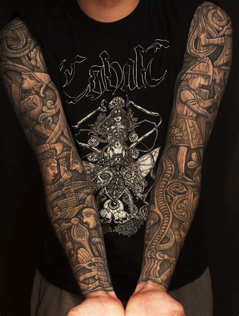 tattoo full hand black and gray two black and grey full sleeves woodcarving of the norse