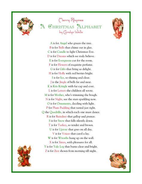 printable xmas poems a christmas alphabet printable christmas poems