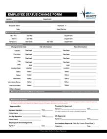 employee form template employee status change forms word excel sles
