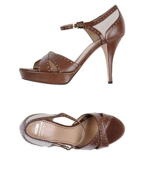 moschino cheap chic platform sandals in brown lyst