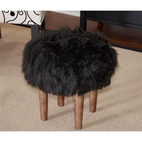 flokati ottoman samarina black faux flokati ottoman with distressed wood