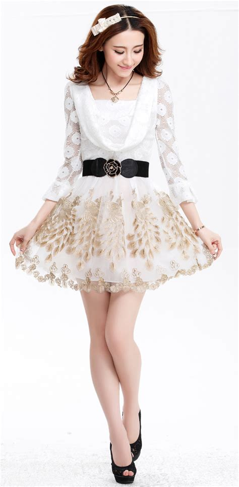 Lace Sleeve Hollow Dress With Belt 2015 new coming princess sleeve peacock printing dress lace hollow out waist dress with belt