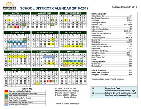 Academic Calendars Academic Calendar Sunnyside Unified School District