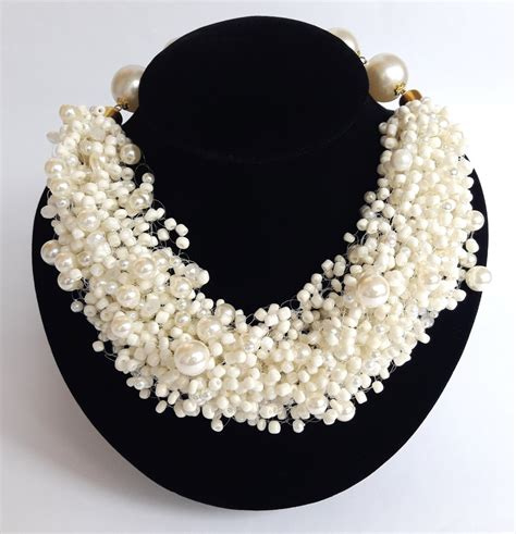 white seed bead necklace big white seed bead necklace white pearl necklace by