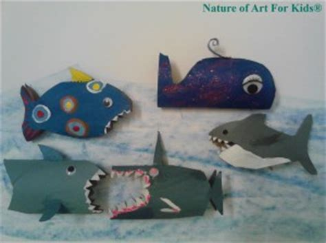 kids craft ideas  paper roll shark painting project