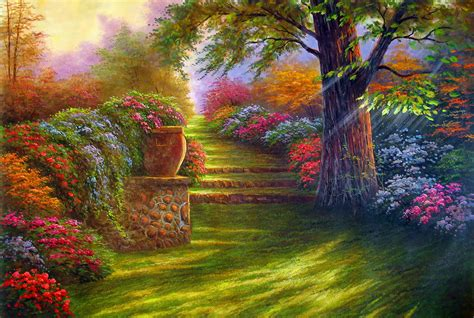 Flower Garden Painting Painting Garden Road Flowers Wallpaper 2564x1722 124232 Wallpaperup