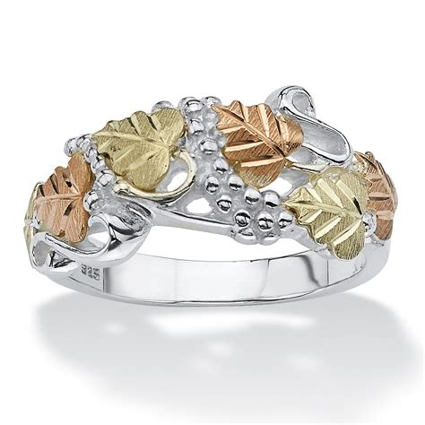 Cincin Multi Ring Silver Leaf palmbeach jewelry openwork leaf ring 12k black gold